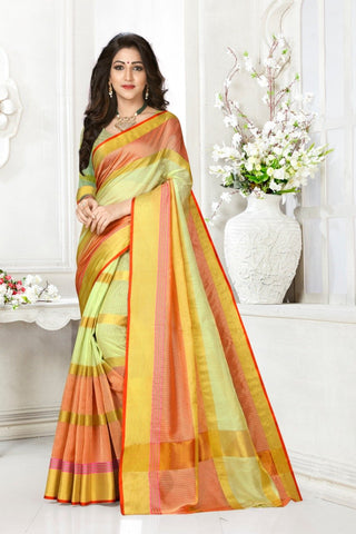 Pista and Gajari Color Cotton Kota Doria Saree - triveni-pista-Gajar