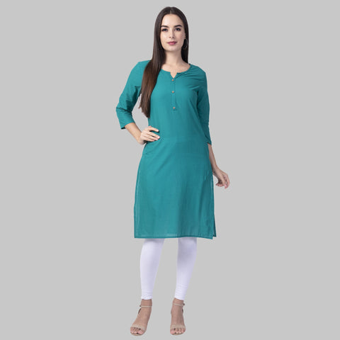 Turquoise Color Cotton Women's Stitched Kurti - turq-cotton-kurta