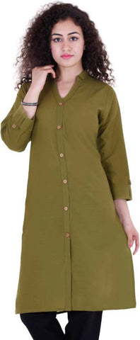 Fern Color Rayon Cotton Stitched Kurti - ustavethnic-015