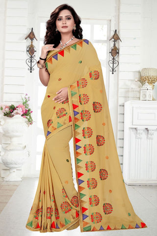 Beige Color Georgette Saree - utsav-233