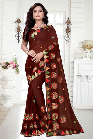 Brown Color Georgette Saree - utsav-235