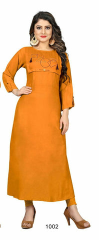 Orange Color Cotton Rayon14kg Stitched Kurti - uvya-hir0011