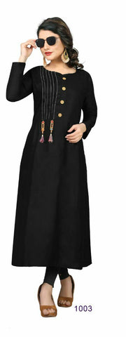 Black Color Cotton Rayon14kg Stitched Kurti - uvya-hir008