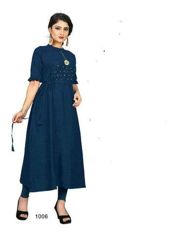 Teal Blue Color Cotton Rayon14kg Stitched Kurti - uvya-hir009