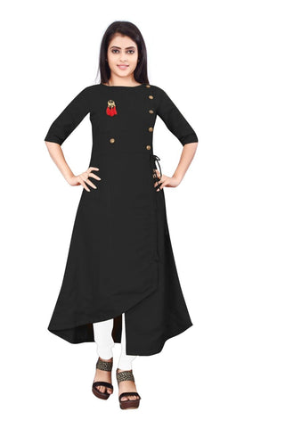 Black Color Cotton Slub Rayon14kg Stitched Kurti - uvya-newstyle0012