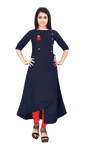 Navy Blue Color Cotton Slub Rayon14kg Stitched Kurti - uvya-newstyle0013