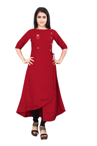 Red Color Cotton Slub Rayon14kg Stitched Kurti - uvya-newstyle0014