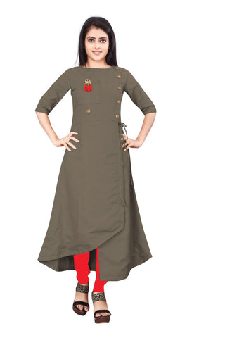 Mud Color Cotton Slub Rayon14kg Stitched Kurti - uvya-newstyle0015