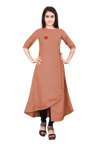 Copper Color Cotton Slub Rayon14kg Stitched Kurti - uvya-newstyle0016
