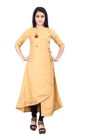 Beige Color Cotton Slub Rayon14kg Stitched Kurti - uvya-newstyle0017