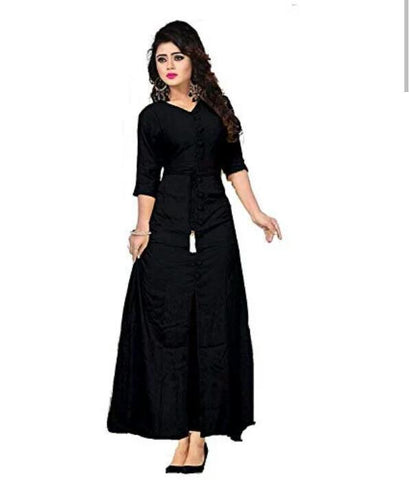Black Color Cotton Rayon14kg Stitched Kurti - uvya003