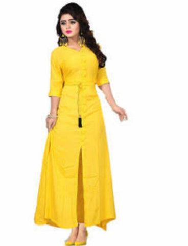 Yellow Color Cotton Rayon14kg Stitched Kurti - uvya005