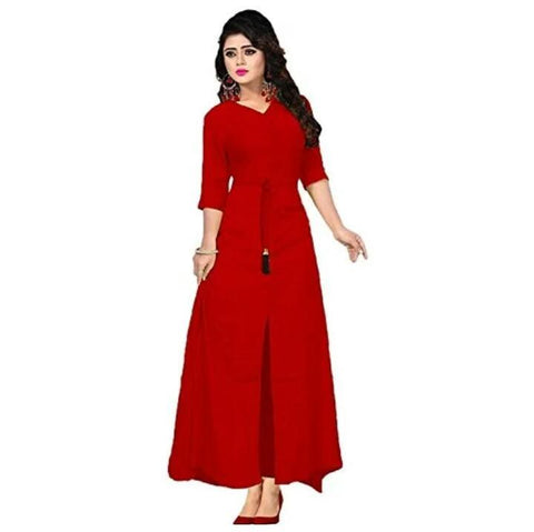 Red Color Rayon 14Kg Stitched Kurti - uvya1