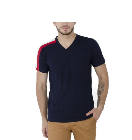 Navy Blue Color Poly Cotton Mens Tshirt - v-gents-tshirt-design-28