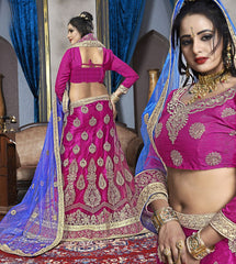 Pink Color Net Semi Stitched Lehenga - VDK21003
