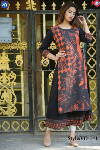 Navy Blue Color Cotton Stitched Kurti - vedikaoverseas-01