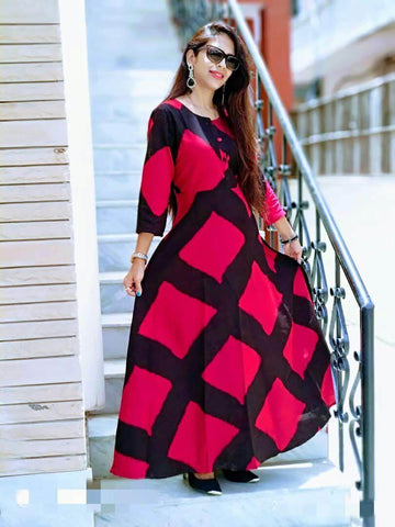 Red and Black  Color Rayon Stitched Kurti - vedikaoverseas-03