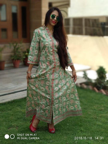 Light Green Color Cotton Stitched Kurti - vedikaoverseas-101