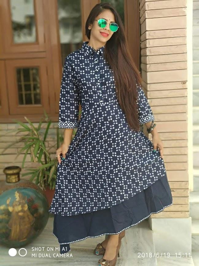 Buy Grey Color Cotton Stitched Kurti