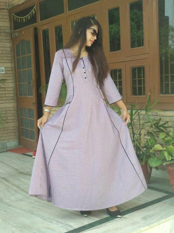 Light Pink Color Cotton Stitched Kurti - vedikaoverseas-103
