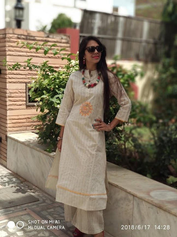 Cream Color Khadi Cotton Stitched Kurti - vedikaoverseas-110