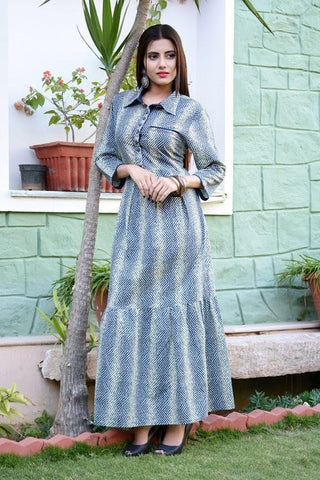 Multi Color Cotton Stitched Gown - vedikaoverseas-116