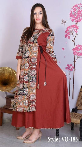 Brick Red Color Rayon Stitched Kurti - vedikaoverseas-118