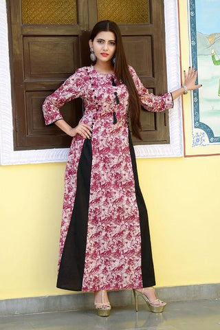 Multi Color Cotton Stitched Gown - vedikaoverseas-120
