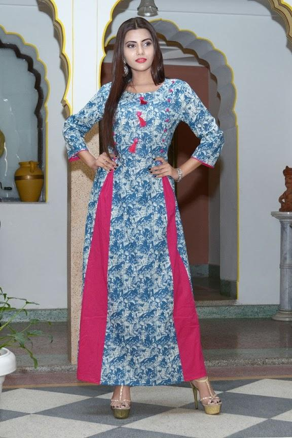 Buy Multi Color Cotton Stitched Gown