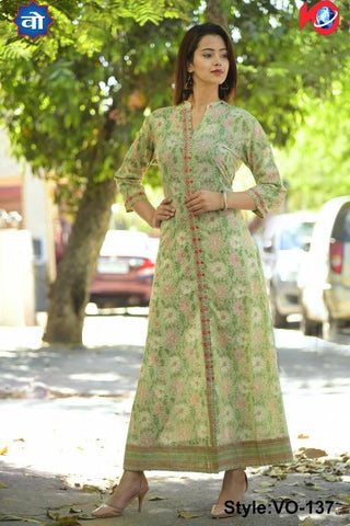 Light Green Color Cotton Stitched Kurti - vedikaoverseas-125