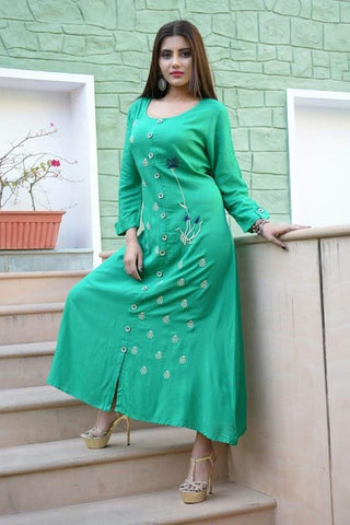 Sea Green Color Rayon Slub Stitched Kurti - vedikaoverseas-140