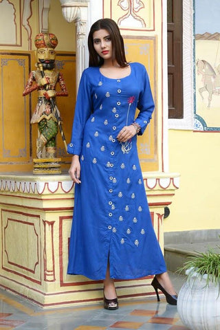 Blue Color Rayon Slub Stitched Kurti - vedikaoverseas-142