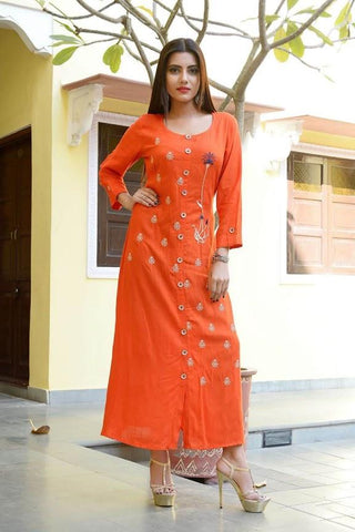 Light Orange Color Rayon Slub Stitched Kurti - vedikaoverseas-144