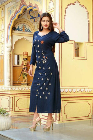 Blue Color Rayon Slub Stitched Kurti - vedikaoverseas-145
