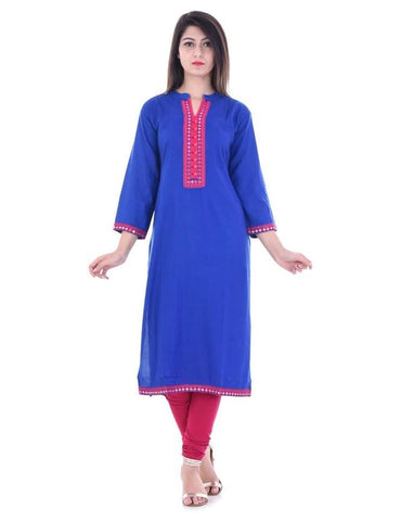Blue Color Rayon Stitched Kurti - vedikaoverseas-147