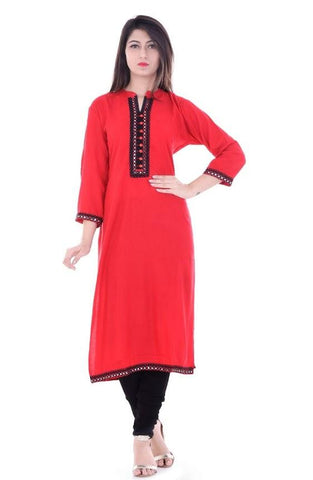 Red Color Rayon Stitched Kurti - vedikaoverseas-149