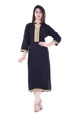 Black Color Rayon Stitched Kurti - vedikaoverseas-150