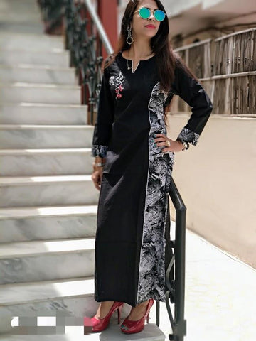 Black Color Cotton Stitched Kurti - vedikaoverseas-85