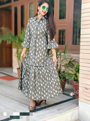 Light Grey Color Cotton Stitched Kurti - vedikaoverseas-94