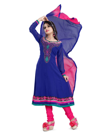 Blue Color Georgette Un Stitched Salwar  - veera06