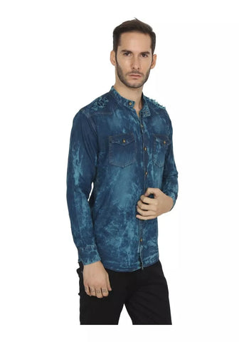 Blue and Green Color Denim Shirt - vero-bl-grn