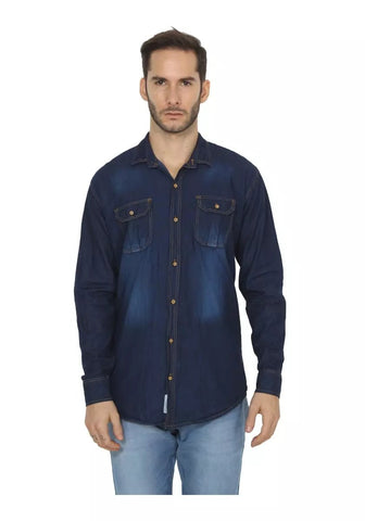 Dark Blue Color Denim Shirt - vero-dbl