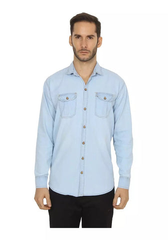 SkyBlue Color Denim Shirt - vero-sbl