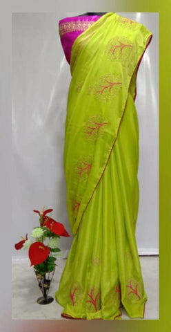 Parrot Color Chiffon Women's Saree - vfzs-0225