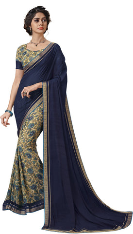 Navy Blue Color Georgette Saree - vipul-37701
