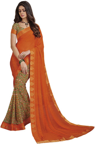 Orange Color Georgette Saree - vipul-37705