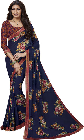 Blue Color Georgette Saree - vipul-37707