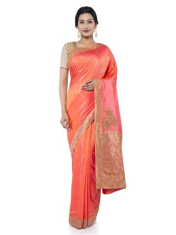 Pink Color Art Silk Saree - vipul-38159