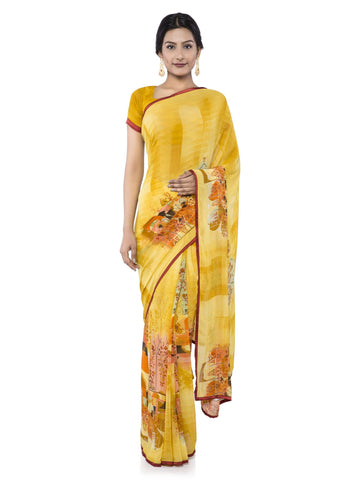 Yellow Color Georgette Saree - vipul-38213