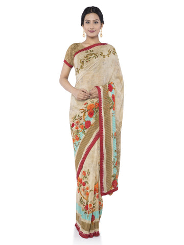 Beige Color Georgette Saree - vipul-38216